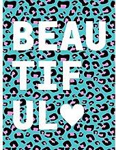 Leopard Blue And Purple Words Beautiful Art Print