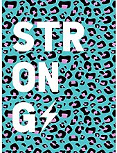 Leopard Blue And Purple Words Strong Large Wall