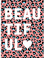 Leopard Coral And Blue Beautiful Words Art Print