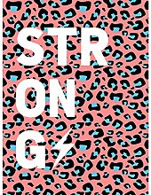Leopard Coral And Blue Strong Words Art Print