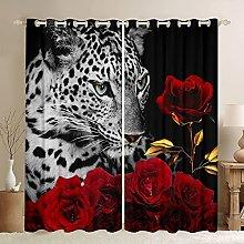 Leopard Curtain Panels African Safari Animals