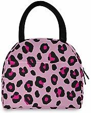 Leopard Grain Print Pattern Pink Portable Lunch