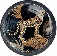Leopard Leaves Crystal Drawer Handles Furniture