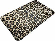 Leopard Pattern Design Bath Mat Microfiber