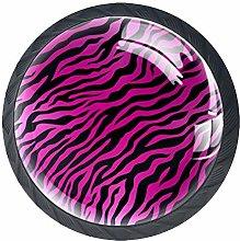Leopard Pink 4 Pieces Crystal Glass Wardrobe