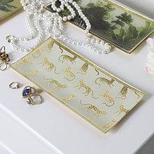 Leopard Print Glass Trinket Tray