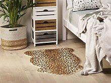 Leopard Print Rug Brown Faux Fur Living Room