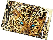 Leopard with Blue Eyes Printing Placemats for