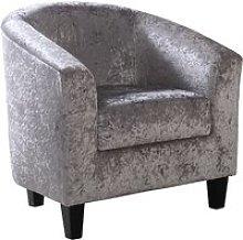 Leporis Crushed Velvet 1 Seater Sofa In Silver