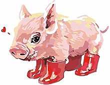 LEQIAI DIY Oil Painting Kit Red shoe pig Paint By