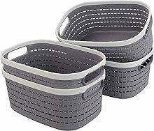 Lesbye Gray Basket Set of 4, Plastic Storage