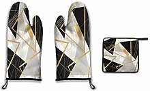Lesif Oven Mitts and Pot Holders,black and gold