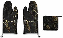 Lesif Oven Mitts and Pot Holders,black gold Duty