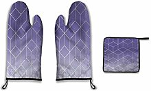 Lesif Oven Mitts and Pot Holders,Geometric Marble