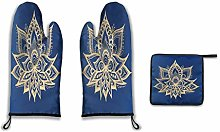 Lesif Oven Mitts and Pot Holders,gold and blue