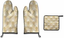 Lesif Oven Mitts and Pot Holders,gold foil look