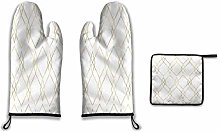 Lesif Oven Mitts and Pot Holders,gold geometric