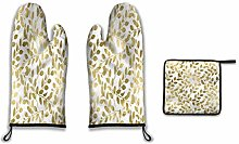 Lesif Oven Mitts and Pot Holders,gold leaves Duty