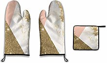Lesif Oven Mitts and Pot Holders,gold marble