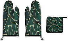 Lesif Oven Mitts and Pot Holders,Green & Gold Duty
