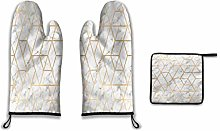 Lesif Oven Mitts and Pot Holders,marble gold geo
