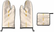 Lesif Oven Mitts and Pot Holders,vintage gold