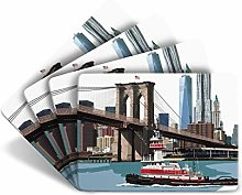 Leslie Gerry New York Brooklyn Bridge Set of 4