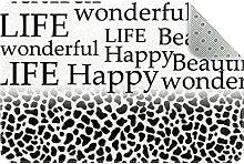 Letters with Leopard Print Door Mat, Machine