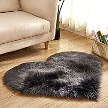 Levoberg Faux Lambskin Heart Shaped Rug for