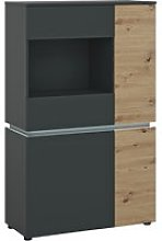 Levy LED Wooden 4 Doors Low Display Cabinet In Oak