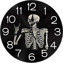 Lewiuzr Round Wall Clock,Rock And Roll Skeleton