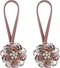 Lewondr 1 Pair Sparkling Crystal Flower Curtain