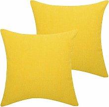 Lewondr Corduroy Cushion Cover, 2 Pack Square