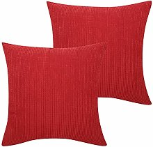 Lewondr Corduroy Cushion Cover, 2 Pack Square