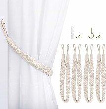 Lewondr Curtain Rope Buckle, 4 Pieces Elegant Rope