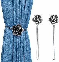 Lewondr Vintage Camellia Magnetic Curtain Tieback,