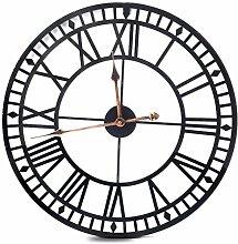 LFDHSF Home Clock 60cm Large Round Black metal