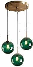 LFsem 3 Lights Pendant Light Ø15cm Green Glass