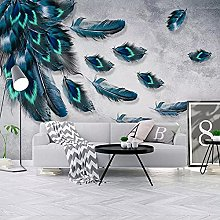LHGBGBLN 3D self-Adhesive Wallpaper Blue Feather