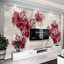 LHGBGBLN 3D Self-Adhesive Wallpaper Jewelry Flower