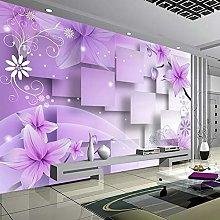 LHGBGBLN 3D self-Adhesive Wallpaper Purple Flowers