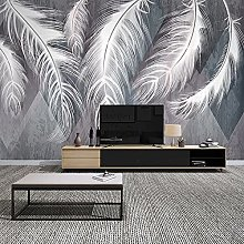 LHGBGBLN 3D Self-Adhesive Wallpaper White Feather
