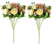 LHHZAL 3d 2 PCS Artificial Rose Flowers Wedding