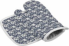 LHM Lily Navy Kitchen Cooking Potholders & Oven