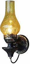 LHTCZZB Retro Wrought Iron E27 Wall Light Glass