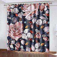 LHUTY 3D Blackout Curtains Flower 2x W52x L63 inch