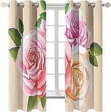 LHUTY 3D Blackout Curtains Flowers 2x W66x L72