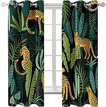 LHUTY 3D Printed Blackout Curtains Leopard 2x W46x