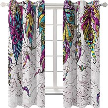 LHUTY 3D Printed Blackout Curtains Purple Feather