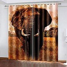 LHUTY 3D Printed Blackout Curtains Vintage